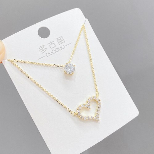 Korean-Style Fashion Micro-Inlaid Zircon Peach Heart Necklace Women's Dual-Use Clavicle Chain Pendant Ornament