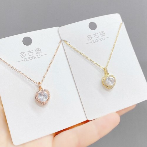 Korean Heart-Shaped Necklace Clavicle Ocean Heart Pendant Peach Heart Necklace Zircon Necklace for Women