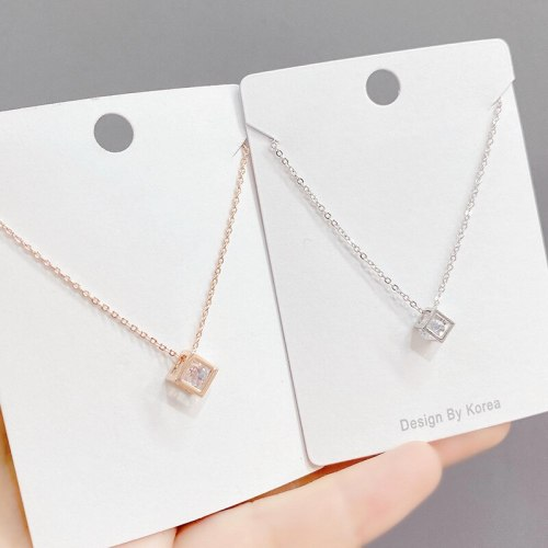 Cube Zircon Necklace Japanese and Korean New Popular All-Match Clavicle Chain Necklace Female Wholesale