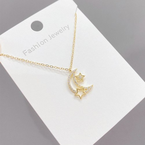Korean Style Fashion Five-Pointed Star Moon Necklace Female Ins Clavicle Chain Necklace Ornament Wholesale