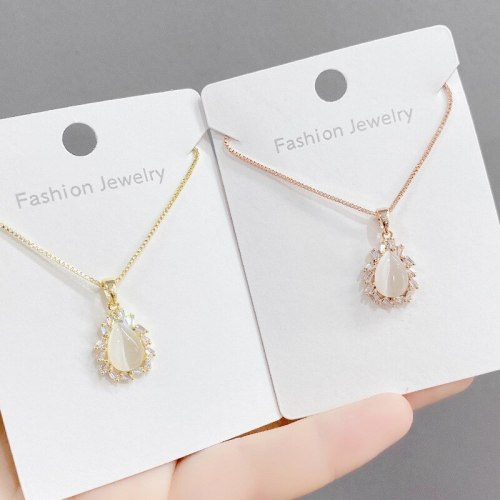 Korean Fashion Opal Necklace Female Micro Inlaid Zircon Clavicle Chain Student Girlfriends Gift Necklace