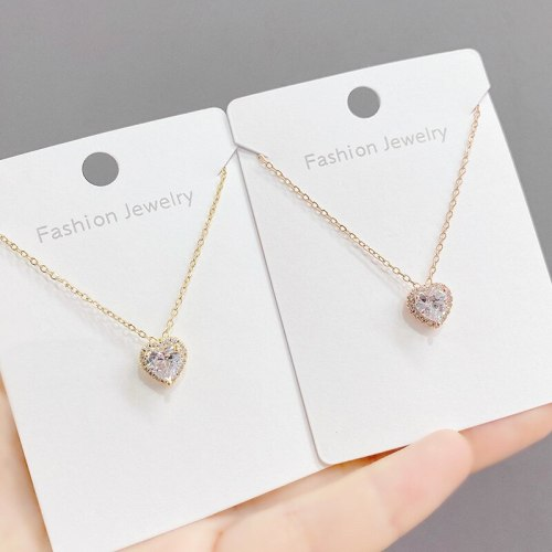 American New Style Micro Inlaid Zircon Heart Necklace Fashion Queen Necklace Female Peach Heart Pendant Clavicle Chain