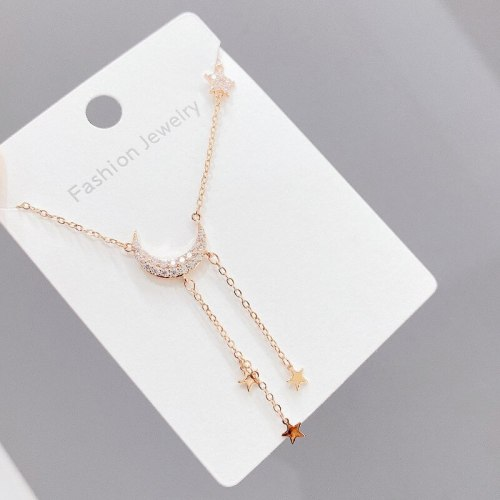 Korean Fashion Necklace Women Five-Pointed Star Sterling Silver Light Luxury Star Moon Elegant All-Match Clavicle Chain Pendant
