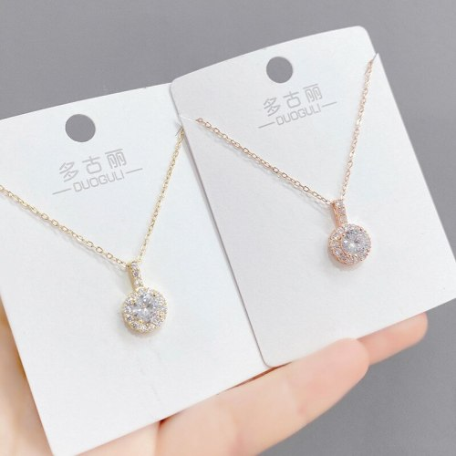 Zircon Necklace Women's European and American Fashion Clavicle Chain Pendant Ins Style Necklace Jewelry Wholesale