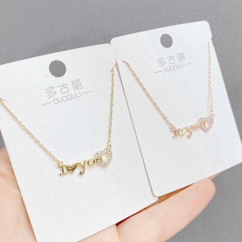 Korean Couple English Letters ILOVEYOU Love Pendant Necklace Female Clavicle Chain Accessories All-Matching Jewelry Wholesale