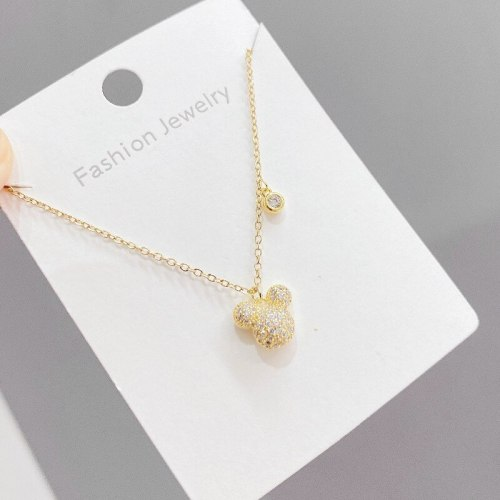 Korean Style Fashion Micro-Inlaid Zircon Pendant Necklace Female Cute Fresh Mouse Clavicle Chain