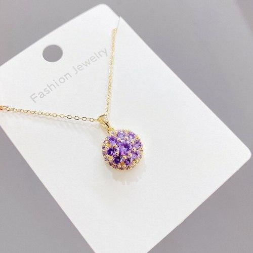 Korean Style round Clavicle Chain Women's Diamond Pendant Short Fashion Rotating Necklace Women