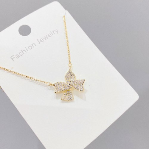 Bow Necklace All-Match Pendant Clavicle Chain Ins Style Personality Temperament Zircon Necklace Jewelry Wholesale