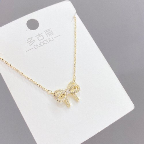 Korean Ins Bow Gold Women's Necklace Elegant Sweet Necklace Micro Inlaid Zircon Clavicle Chain Trend Necklace Necklace