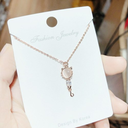 Fashion Pendant Korean Style Creative Pink Crystal Kitty Pendant Cute Animal Shape Opal Pendant Necklace