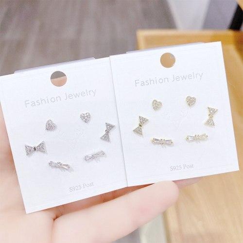New Diamond Zircon S925 Silver Pin Stud Earrings Three Pairs of Earrings Stud Earrings Female Earrings Jewelry