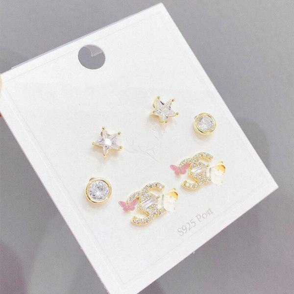 Chanel-Style Women's Retro Fashion Double C Stud Earrings Three Pairs Trendy Simple Female Ear Rings