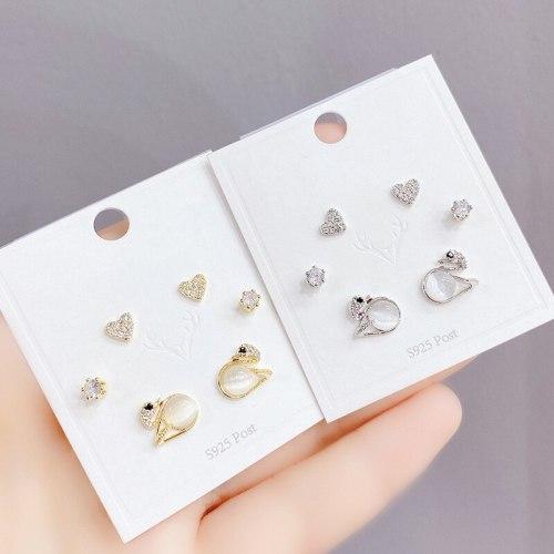 New Three Pairs of Stud Earrings Female Micro Inlaid 3A Zircon S925 Silver Needle Earrings Eardrops Jewelry