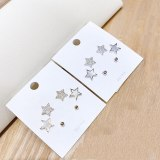 Korean Style Micro Inlaid Zircon 925 Silver Needle Stud Earrings Three Pairs Small Ear Studs Boutique Stud Earrings Shell Star