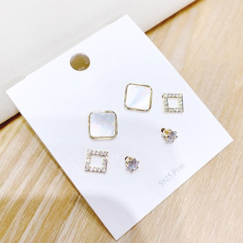 Three Pairs of S925 Silver Needle Simple Stud Earrings Korean Style Gold Plated Shell Sweet Exquisite Inlaid Zircon Earrings