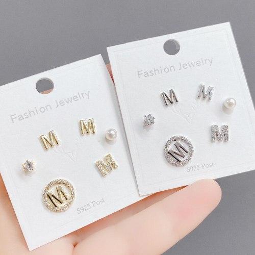 Three Pairs Combination Set Stud Earrings Fashion Personality 3pcs/Set Letter Stud Earrings S925 Silver Needle Earrings Women