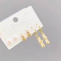 S925 Silver Needle Korean Fashion Stud Earrings Girl 3PCs/Set Opal Student Mini Simple Stud Earrings Female Jewelry