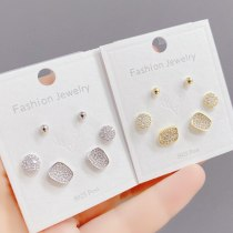 Korean Style Fashion 925 Silver Needle with Chain Zircon Female Stud Earrings Ins Versatile Temperament Three Pairs of Earrings