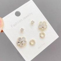 S925 Silver Needle Micro Inlaid Zircon Stud Earrings 3pcs/set Women's Earrings Simple Temperament Korean Style Earrings Jewelry