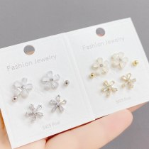 S925 Silver Needle Fashion Stud Earrings Female 3pcs/Set Zircon Petals Student Mini Simple Stud Earrings Ornament