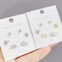 Korean Style Exquisite 925 Silver Needle Zircon Women's Ear Studs Versatile Temperament Three Pairs of Earrings Jewelry
