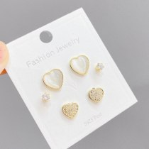 Korean Style S925 Silver Needle Fashion 3 Pcs/set Stud Earrings Opal Peach Heart Student Mini Simple Stud Earrings Jewelry