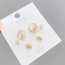 S925 Silver Needle Micro Inlaid Zircon Eight Awn Star Stud Earrings Three Pairs Combination Earrings Stud Earrings 3 Pcs/set