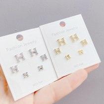 S925 Silver Needle Inlaid Zircon H Letter 3 Pcs/set Stud Earrings Personalized Combination Earrings Jewelry for Women