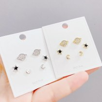 S925 Silver Needle Micro-Inlaid Zircon Planet 3 Pcs/set Stud Earrings Small Personalized Combination Earrings Jewelry for Women
