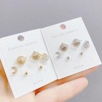 3pcs/Set Stud Earrings S925 Silver Pin Earrings Fashion All-Match Simple Female Jewelry