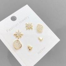 Earrings S925 Silver Needle Eight Awn Star Stud Earrings Korean Style Personalized Simple 3 Pcs/set Stud Earrings Set for Women