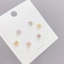 Korean Style S925 Silver Needle 3pcs/Set Cute Earrings Fashion Personality Simple Stud Earrings Set for Women