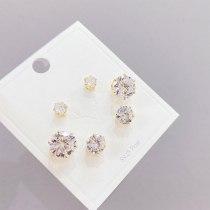 S925 Silver Needle Zircon 3 Pcs/set Stud Earrings Korean Style Small Personalized Combination Earrings Jewelry for Women