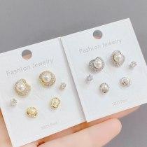 Korean Style Exquisite 925 Silver Needle Zircon Pearl Female Stud Earrings Versatile Temperament 3 Pcs/set Earrings