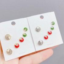 Fashion S925 Silver Pin Lucky Charm Earrings Korean Style Personalized Simple Stud Earrings Set for Women 3pcs/Set