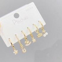 Korean Style Fashion Micro Inlaid Zircon Petals 3 Pcs/set Stud Earrings Personalized Combination Earrings Jewelry for Women
