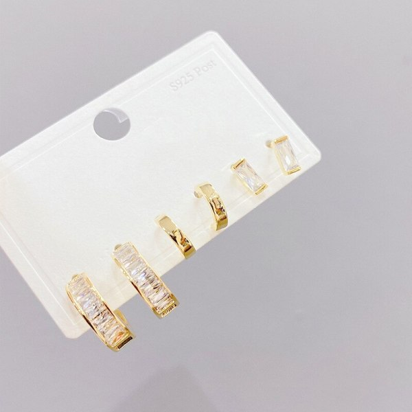 S925 Silver Needle Micro-Inlaid Zircon Ring 3 Pcs/set Stud Earrings Small Personalized Combination Earrings Jewelry for Women