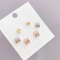 European and American Popular Ornament H Letter Stud Earrings Women's Combination Set Earrings Jewelry 3pcs/set