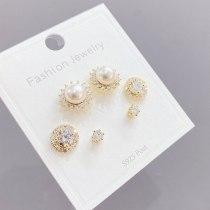 Earrings S925 Silver Needle Micro-Inlaid Zircon Stud Earrings 3pcs/Set Korean Style Personalized Pearl Earrings Set for Women