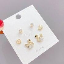 S925 Silver Pin Stud Earrings Female 3 Pcs/set Swan Earrings Female Micro Inlaid Zircon Earrings Jewelry