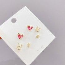 Earrings S925 Silver Needle 3pcs/Set Micro Inlaid Zircon Stud Earrings Korean Style Peach Heart Rabbit Earrings Set for Women