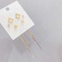 Korean Style Micro Inlaid Zircon S925 Silver Needle Stud Earrings 3 Pcs/set Boutique Earrings Cube Sugar Jewelry