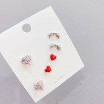 S925 Silver Needle Three Pairs Combination Set Women's Stud Earrings Simple All-Match Full Diamond Peach Heart Earrings