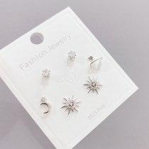 S925 Silver Needle Cute Stud Earrings 3 Pcs/set Korean Style Personalized Simple Earrings Set for Women