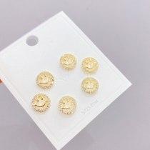 Women 'S Korean-Style Micro-Inlaid Zircon Stud Earrings 3 Pcs/set Smile Earrings Jewelry