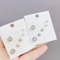 New 3pcs/Set Stud Earrings S925 Silver Needle Ear Rings Fashion All-Match Simple Women's Earrings Wholesale