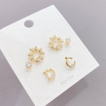 Korean Micro Inlaid Zircon 925 Silver Needle Small Stud Earrings 3pcs/Set Fashion Earrings Letter Ear Studs Jewelry Wholesale