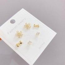 S925 Silver Needle 3pcs/Set Micro Inlaid Zircon Stud Earrings Korean Style Personalized Simple Earrings Set for Women