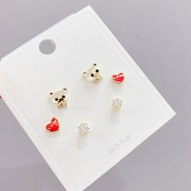 S925 Silver Needle Three Pairs Combination Set Female Stud Earrings Simple All-Match Bear Exquisite Ear Jewelry Wholesale