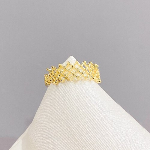Real Gold Color-Preserving Electroplated Grid Ring Fashion Personal Influencer Simple Cold Style Open Ring